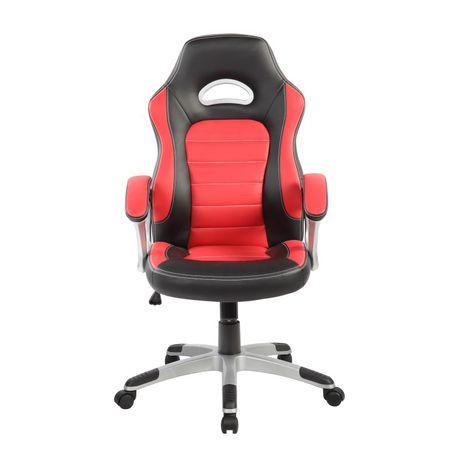 Стол Gaming Kring Seth, Въртящ, Черен/Червен