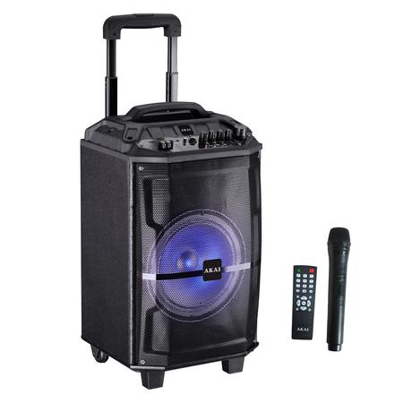 Преносима тонколона Akai ABTS-H12L, 40W, Wireless микрофон, Bluetooth, FM радио, Караоке, USB, Disco светлини