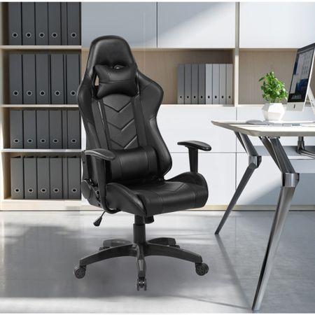 Стол Gaming Kring Sigrid, Гръбначна опора, Облегалка за глава, PU, Черен