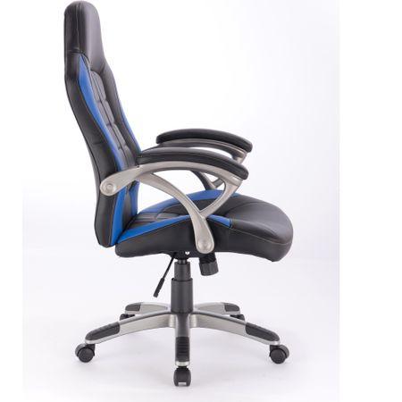 Офис стол Kring Noah, PU, Ергономичен, Черен/Син