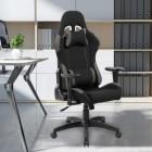 Стол gaming Kring Saitama, С лумбална опора и облегалка за глава, PU + Текстилен материал, Черен/Сив