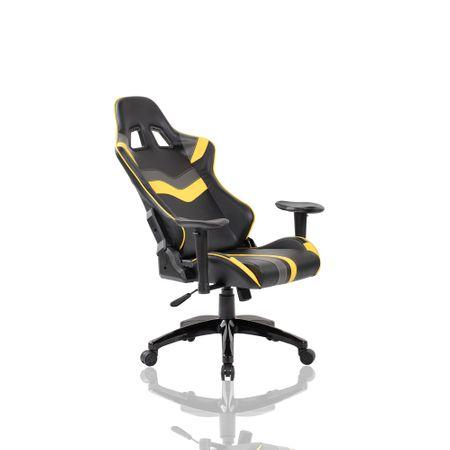 Стол gaming Kring Roth, Гръбначна опора, Облегалка за глава, Функция реклайнер, Черен/Жълт