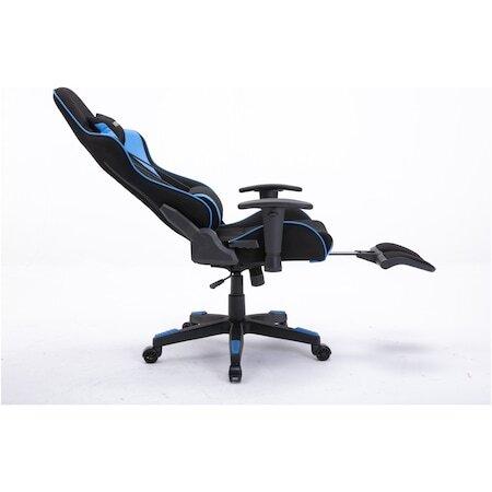 Стол Gaming Kring Rush, Опора за крака и гръб, Текстилен материал, PU, Черен / Син