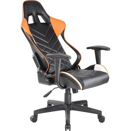 Стол gaming Kring Frey, Гръбначна опора, Облегалка за глава, Функция реклайнер, Черен/Оранжев